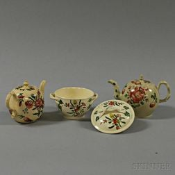 Three Floral-decorated Creamware Items