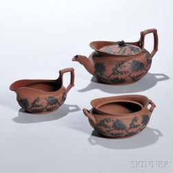Three-piece Wedgwood Rosso Antico Parapet Tea Set