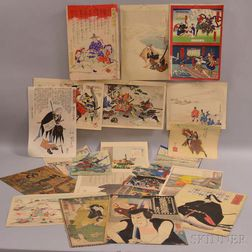 Twenty-one Assorted Woodblock Prints and Book Pages