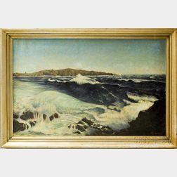C.W. Van Ness (American, 20th Century)      Crashing Surf on a Rocky Coast.
