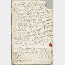 Martha's Vineyard Deed Dated 1704, Signed by Native Americans from the Tackanash Family.