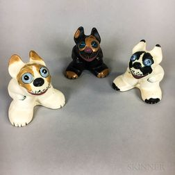 Three Weller Pottery Popeye Dogs