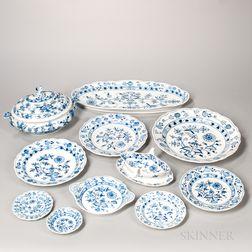 "Fifty-nine-piece Meissen ""Blue Onion"" Pattern Porcelain Dinner Service"