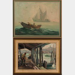 Stephen George Maniatty (American, 1910-1984)      Two Framed Oil Sketches.
