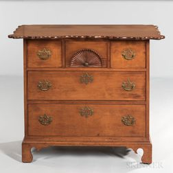 Fan-carved Scalloped-top Cherry Chest of Three Drawers