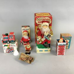 Five Japanese Wind-up Santa Claus Toys in Boxes