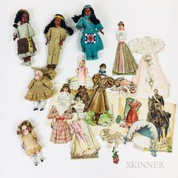 Small Group of Paper, Bisque, and Plastic Dolls