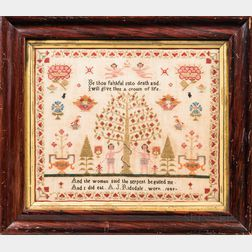 "Needlework Adam and Eve Sampler ""A.J. Risdale,"""
