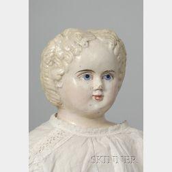 Large Papier-Mache Shoulder Head Doll by Greiner