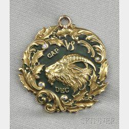 Art Nouveau 14kt Gold, Enamel, and Diamond Capricorn Pendant