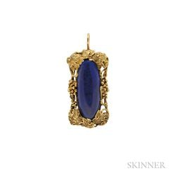 Arts and Crafts 14kt Gold and Lapis Pendant, Walton & Co.