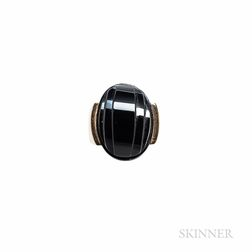 Art Deco 18kt Gold and Onyx Ring