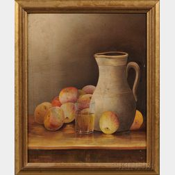 American School, 19th Century      Tabletop Still Life with Pitcher, Glass Tumbler, and Apples.