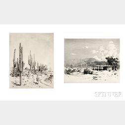 George Elbert Burr (American, 1859-1939)      Two Desert Views:  Indian Home - Salt River Mountains Arizona