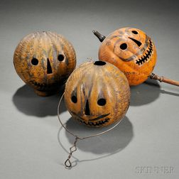 Three Painted Tin Jack-o'-Lantern Parade Lanterns