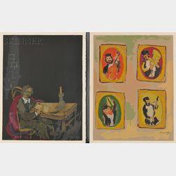 Mané-Katz (French/Ukrainian, 1894-1962)      Five Images from DOUZE LITHOGRAPHIES POUR STEMPENIOU DE CHOLEM ALEIKHEM: