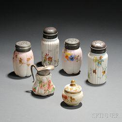 Six Small Mount Washington Glass Tableware Items