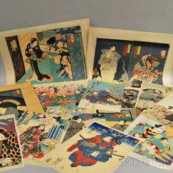 Seventeen Kabuki Woodblock Prints