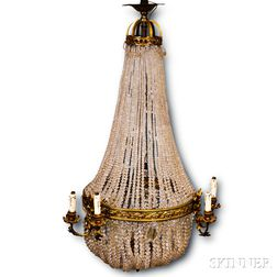 Gilt-brass and Cut Prism Pendant Six-light Chandelier