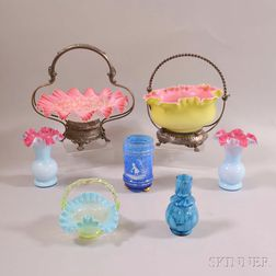 Seven Pieces of Victorian Art Glass
