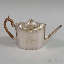 English Silver-plated Teapot, Four Sheffield Silver-plated Coasters, and a Silver-plated Caster