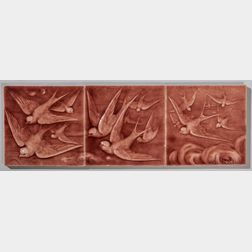 American Encaustic Tiling Co. Three-part Pottery Tile of Swallows in Flight