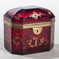 Continental Cranberry Glass Dresser Box