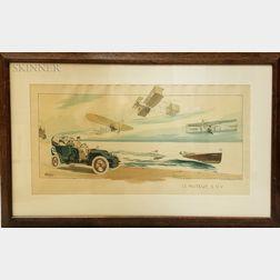 Four Framed Mabileau & Co. Transportation Prints