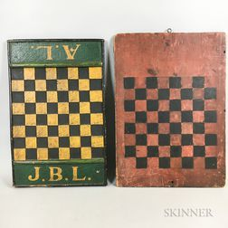 Two Polychrome Painted Wood Game Boards