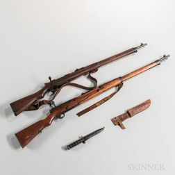 Two Iwo Jima-captured Arisaka Bolt-action Rifles and a U.S. Marine Corps Kabar Fighting Knife