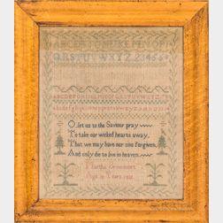 "Framed ""Martha Brownsort"" Needlework Sampler"