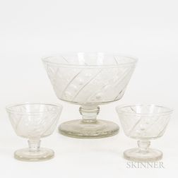 Three Floral Etched Colorless Glass Compotes