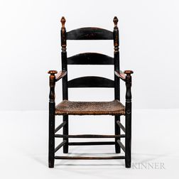 Black-painted Ladder-back Armchair