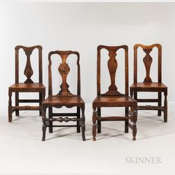 Four English Oak Side Chairs