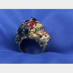 Gem-set Lion's Head Ring