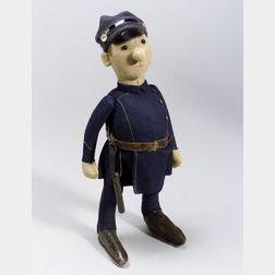 Early Steiff Felt Character Policeman Doll
