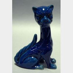 Aller Vale Blue Glazed Staring Cat Figural with Amber Glass Eyes.