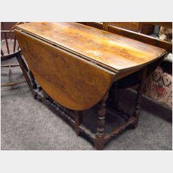 William & Mary Maple Drop-leaf Gate-leg Table.