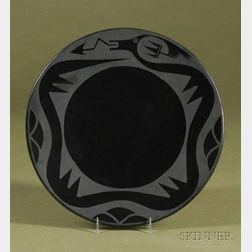 Southwest Black on Black Pottery Plate