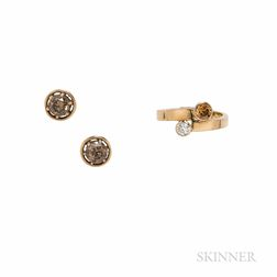 Colored Diamond Earrings and Ring