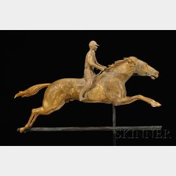 Painted and Gilded Copper and Cast Zinc Horse and Jockey Weather Vane
