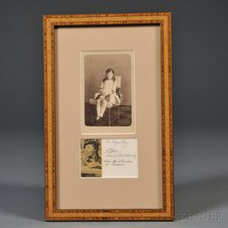 Cabinet Photograph of Grand Duchess Olga Alexandrovna and Her Signature