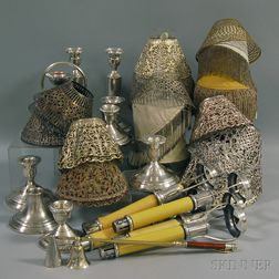 Group of Assorted Silver and Plated Lamp Shades, Beaded Lamp Shades and Candlesticks