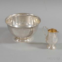 Gorham Sterling Silver Revere Reproduction Bowl and a Revere Silversmiths Creamer