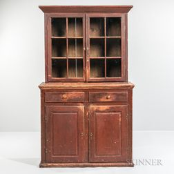 Red-painted Glazed Cupboard