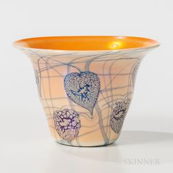 Imperial Art Glass Vase with Lily Pad Decoration