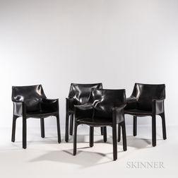 Four Mario Bellini for Cassina Model CAB 413 Armchairs