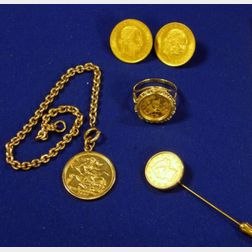 Group of Gold Coin Mounted Jewelry