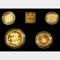1994 United Kingdom Gold Proof Sovereign Four Coin Collection