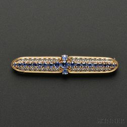Arts & Crafts 18kt Gold, Platinum, and Sapphire Bar Pin, Tiffany & Co.